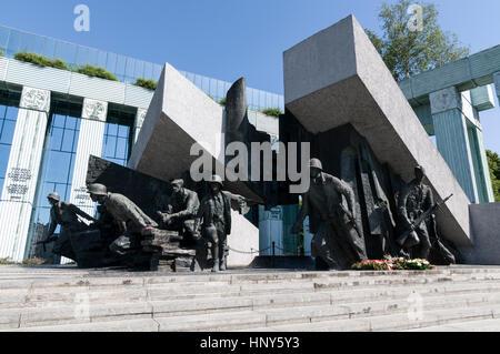Pomnik Powstania Warszawskiego - Monument to Warsaw Uprising in Krasinski Square in front of the Sad Najwyzszy  - Stock Photo