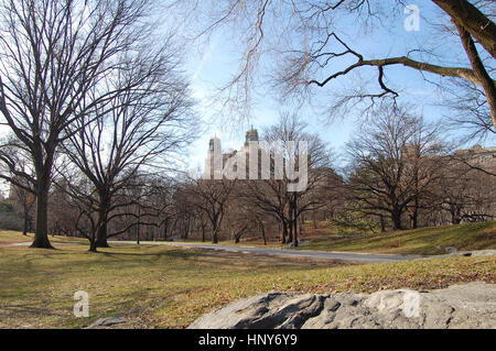 Winterly Central Park in New York City - Stock Photo