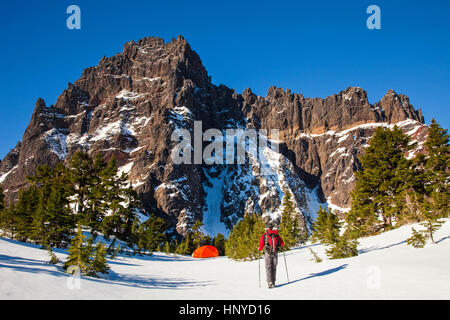 Snow Camping at the Base of Three Fingered Jack Mountain Near Bend Oregon - Stock Photo