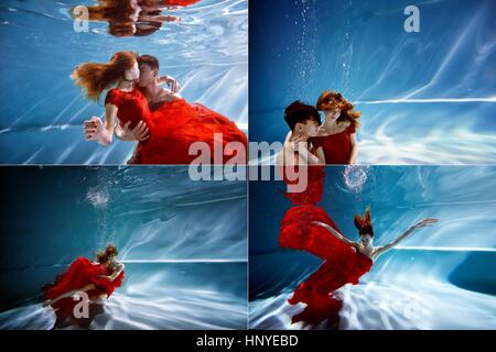 Underwater in the pool with the purest water. Loving couple hugging. The feeling of love and closeness. Soft focus - Stock Photo