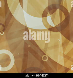 rings and triangles of brown and white in abstract background pattern, random sizes of transparent white circle - Stock Photo