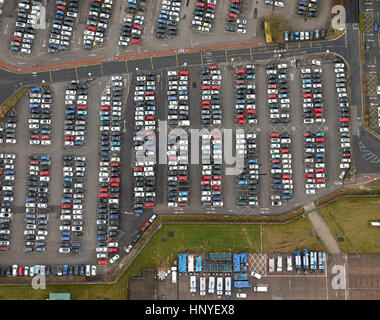 vertical aerial view of cars parked at Manchester Airport car park - Stock Photo