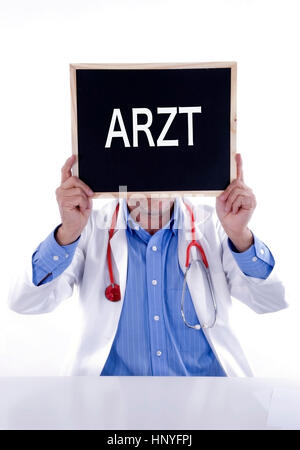 Model release , Arzt mit Tafel Arzt - doctor with blackboard Arzt - Stock Photo