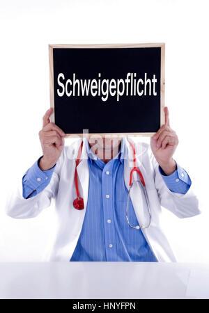 Model release , Arzt mit Tafel Schweigepflicht - doctor with blackboard Schweigepflicht - Stock Photo