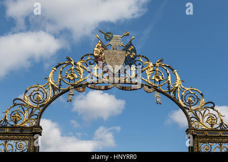 Detail of The Golden Gates outside the Warrington Town Hall, Cheshire, UK - Stock Photo