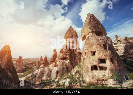 Review unique geological formations in Cappadocia, Turkey. Kappa - Stock Photo