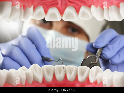 dentist checkup teeth, Inside mouth view - Stock Photo
