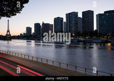 High rise buildings along the Seine River in Paris, France - Stock Photo