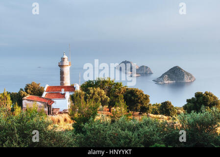 Lighthouse Gelidonya Peninsula in spring. Beautiful landscapes o - Stock Photo