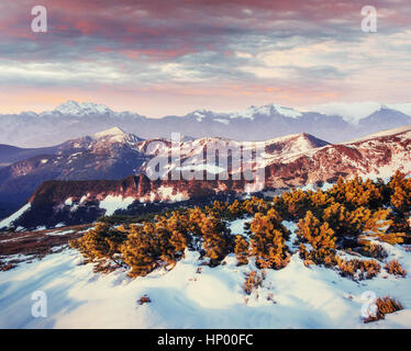 Mysterious winter landscape majestic mountains - Stock Photo