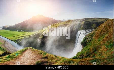 Great waterfall Skogafoss in south of Iceland - Stock Photo