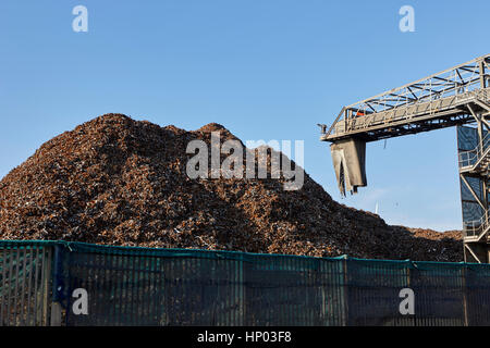 pile of processed metals at metal recycling plant liverpool uk - Stock Photo