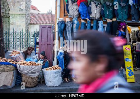Market of Potosi, in calle Bolivar at calle Bustillos, Potosi, Bolivia - Stock Photo