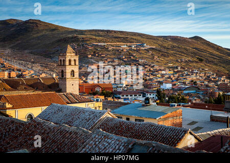 Church and convent of San Francisco, and skyline of the city, Potosi, Bolivia - Stock Photo