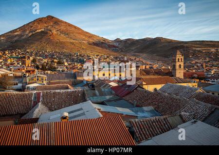 Potosi and Cerro Rico, Bolivia - Stock Photo