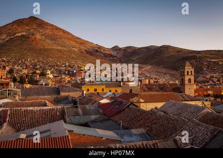 Night, And, sunset,Potosi and Cerro Rico, Bolivia - Stock Photo