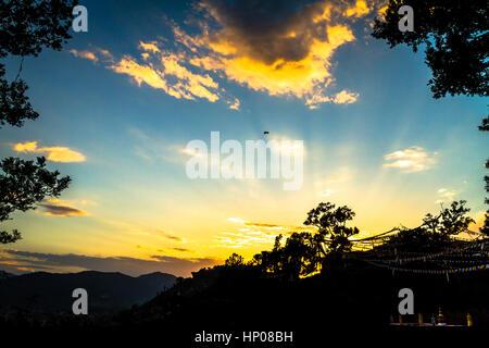 Beautiful Sky with colors at the Sunset time,view seen from Swayambhunath Stupa,Kathmandu,Nepal. - Stock Photo