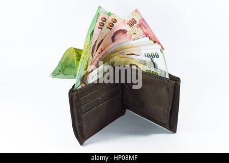 Thai Money in wallet, Thai baht - Stock Photo