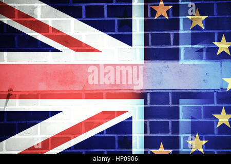 flags of UK and EU combined over icons of London - Brexit concept - Stock Photo