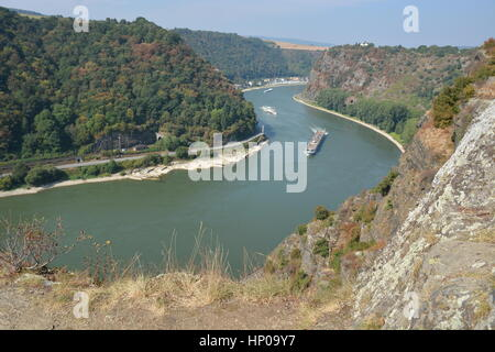 St. Goarshausen, Germany - September 15, 2016 -  Loreley rock in german rhine valley - Stock Photo