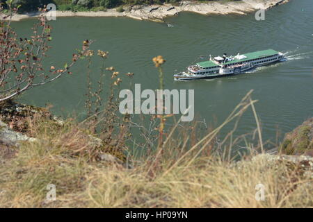 St. Goarshausen, Germany - September 15, 2016 -  Historic passenger boat Goethe at Loreley rock in german rhine - Stock Photo