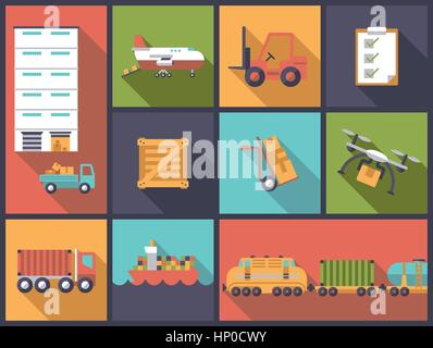Horizontal flat design long shadow illustration with transport, shipping and cargo - Stock Photo