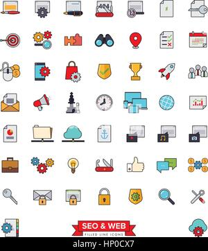 Collection of 51 SEO and Web Services filled line icons - Stock Photo