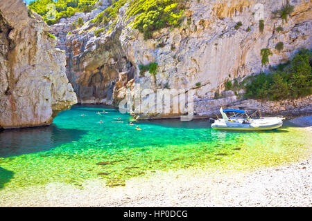 Amazing Stinva beach of Vis island, Dalmatia, Croatia - Stock Photo