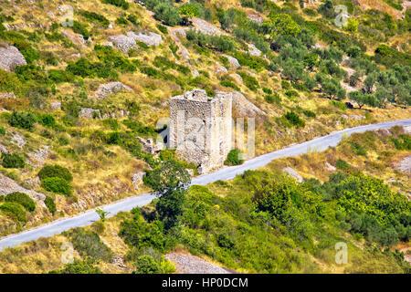 Island Vis military zone old guard tower ruin, Dalmatia, Croatia