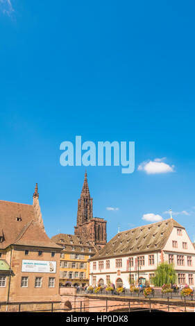 strasbourg cathedral seen from quai saint-nicolas, city history museum on the right, strasbourg,alsace, bas-rhin, - Stock Photo
