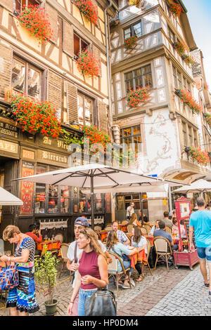 street scene in front of restaurant au vieux strasbourg, traditional alsatian restaurant, - Stock Photo