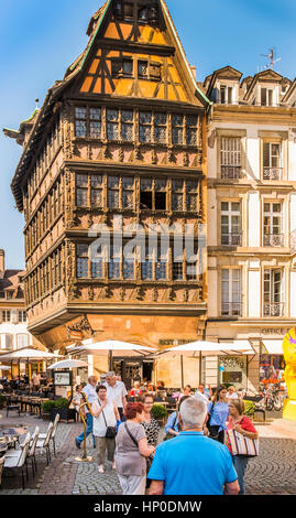 street scene at place de la cathedrale in front of strasbourg tourist office, - Stock Photo
