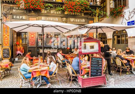 au vieux strasbourg, traditional alsatian restaurant - Stock Photo