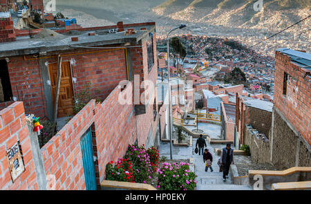 El Alto, in background Panoramic view of La Paz and Los Andes mountains, La Paz, Bolivia - Stock Photo