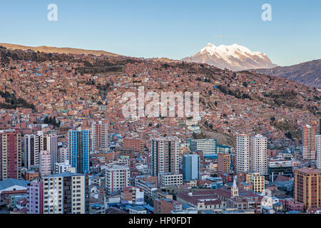 Panoramic view of the city, in background  Illimani mountain 6462 m, La Paz, Bolivia - Stock Photo