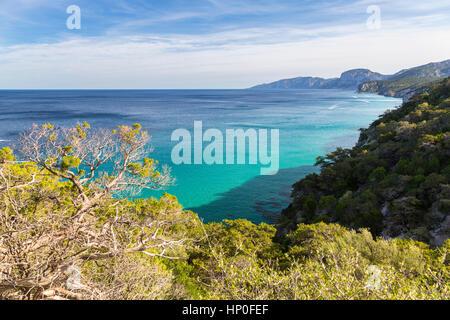 Panoramic view of Orosei gulf, Gennargentu National Park, Nuoro Sardinia, Italy. - Stock Photo