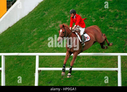The National, Spruce Meadows, June 2001, Shell Cup Derby, Leslie Howard (USA) riding S'Blieft - Stock Photo