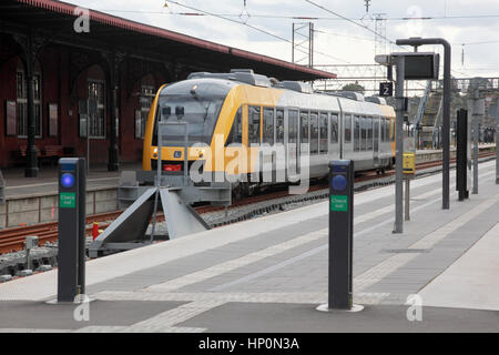 A train standing in the station at Helsingor, Denmark - Stock Photo