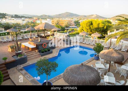 MALLORCA, SPAIN - JULY 16: Water pool in  boutique hotel Bon Repos in Santa Ponsa, Mallorca. July 16 2016 - Stock Photo