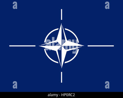 NATO Flag, North Atlantic Treaty Organization - Stock Photo
