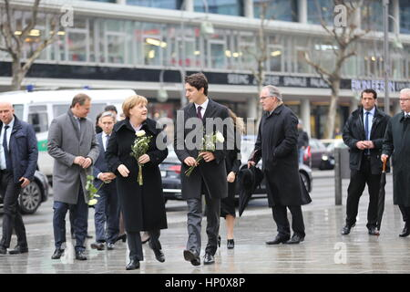 Berlin, Germany. 17th Feb, 2017. Federal Chancellor Merkel and the Canadian Prime Minister Justin Trudeau visit - Stock Photo