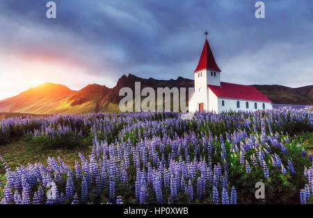 Lutheran church in Vik. Iceland. - Stock Photo