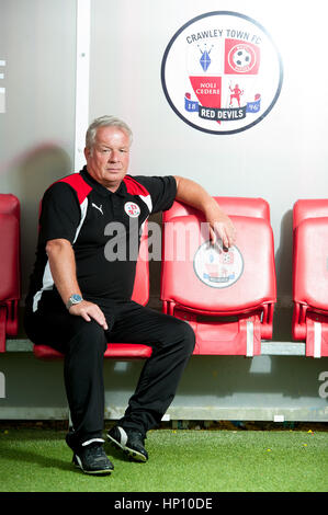 Dermot Drummy - Crawley Town FC manager at the ground. After losing his job at the club he passed away in November - Stock Photo