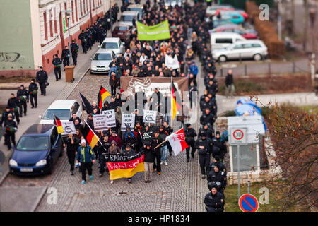 FRANKFURT (ODER), GERMANY - 17 January 2015: Right-wing demonstrators march against immigration and refugees, 15 - Stock Photo