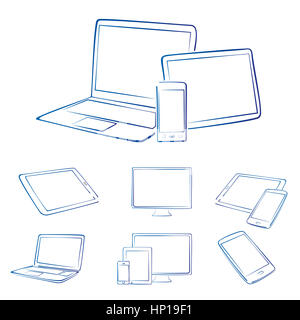 Hand drawn digital devices in blue and white - Stock Photo