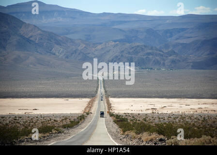 Badwater Death Valley Long Road - Stock Photo