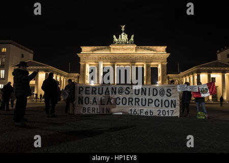 February 16, 2017 - Berlin, Berlin, Germany - A small group of indigenous Peruvians demonstrate in front of the - Stock Photo