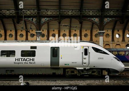 "York, UK. 17th Feb, 2017. A new Hitachi-made 125mph Class 800 ""Azuma"" electro-diesel train waits at York station - Stock Photo"