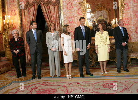 FILE Iñaki Urdangarin and Cristina de Borbon with King Juan Carlos , Queen Sofia , Crown Princes Felipe and Letizia - Stock Photo