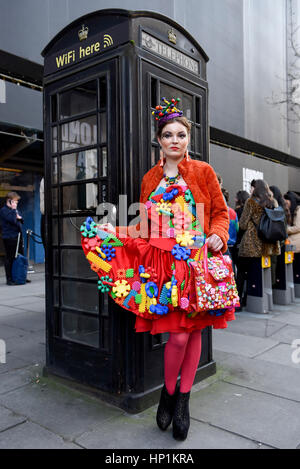 London, UK. 17th Feb, 2017. Followers of fashion gather outside the home of London Fashion Week at 180 The Strand - Stock Photo